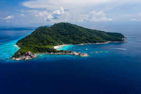 Aerial drone view of the beautiful tropical Similans islands in Thailand