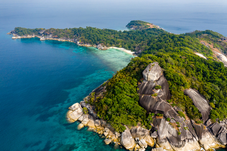 Aerial drone view of a beautiful tropical island in the Mergui Archipelago, Myanmar