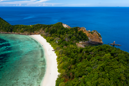 Aerial drone view of the tropical Ba Wei (Stewart island in the Mergui Archipelago, Burma