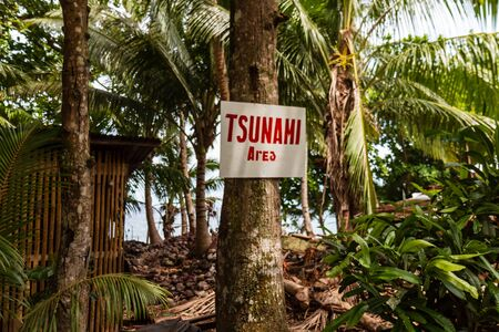 A hand written Tsunami warning sign on the Philippine island of Camiguin