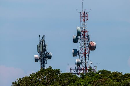 Large telecommunication masts in the jungle in the Philippines