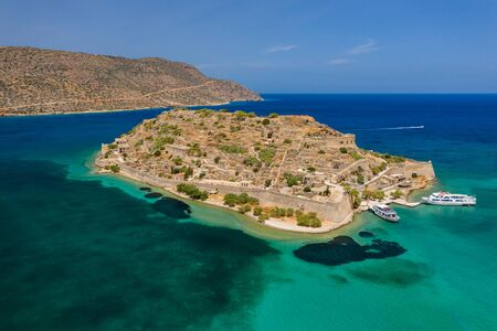 Aerial drone view of the ancient island of Spinalonga on the Greek island of Crete