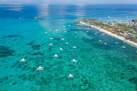 Aerial drone view of the tropical island of Malapascua in the Philippines 版權商用圖片