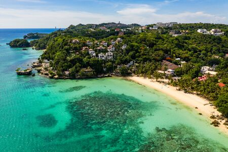 BORACAY, PHILIPPINES - 17 JUNE 2019: Abandoned and semi-demolished buildings at Diniwid Beach on Boracay Island