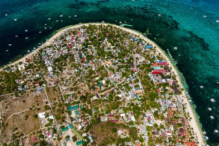 Aerial drone view of the tropical island of Malapascua in the Philippines Reklamní fotografie - 129539645
