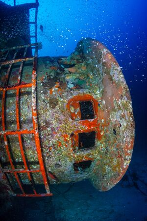 A large underwater shipwreck in the Andaman Sea