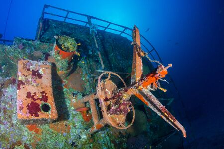 A large underwater shipwreck in a clear, tropical ocean (Similan Islands) Stock Photo