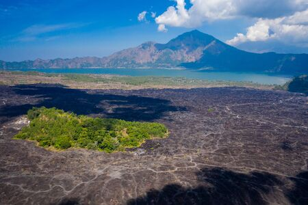 Aerial view of a tiny island of green surrounded by black, solidified lava flows around an active volcano (Mount Batur)