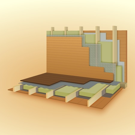Wall and floor construction details, vector