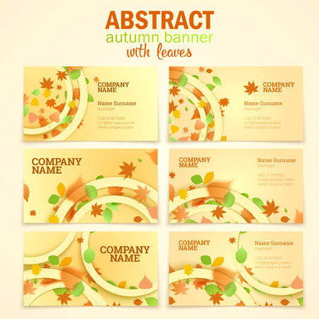 bage: Visit cards autumn leaves vector