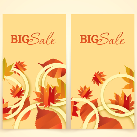 bage: Banner with autumn leaves vector