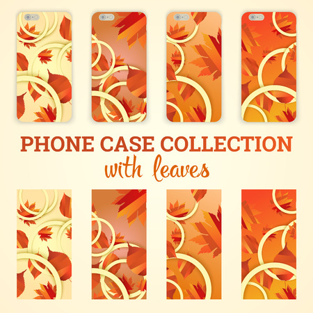 bage: phone case with autumn leaves vector