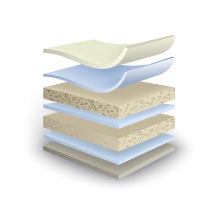 illustration mattress section on layers Stock Photo