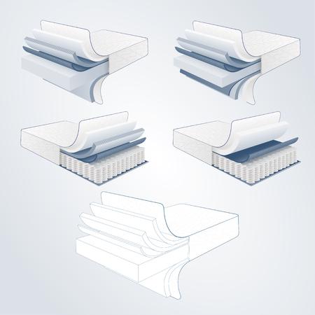 section de matelas set vector sur couches