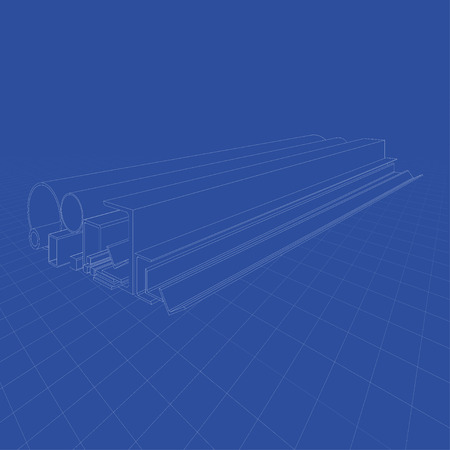 Rolled metal products. Vector rendering of 3d. Wire-frame style. The layers of visible and invisible lines are separated