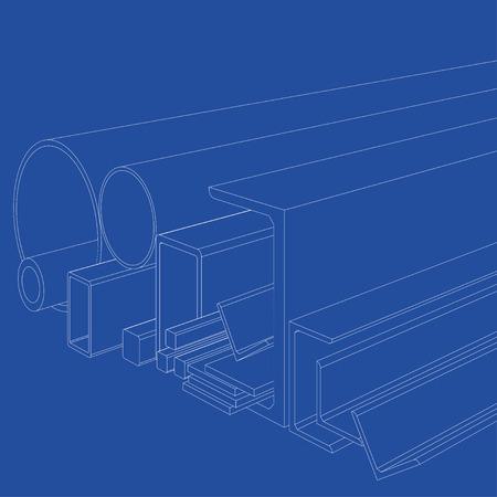Producten van gewalst metaal. Het vector teruggeven van 3d. Draadframe stijl. De lagen zichtbare en onzichtbare lijnen zijn gescheiden Stock Illustratie