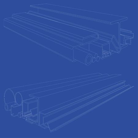 Producten van gewalst metaal. Het vector teruggeven van 3d. Draadframe stijl. De lagen zichtbare en onzichtbare lijnen zijn gescheiden Stockfoto