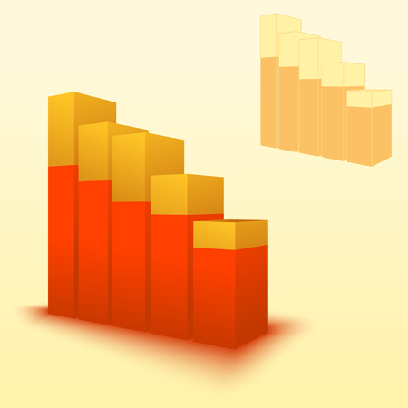 3d bar chart, bar graph element. Illustration for business, finance, growth concepts.