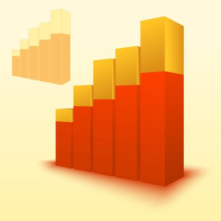 3d bar chart, bar graph element. Illustration for business, finance, growth concepts.
