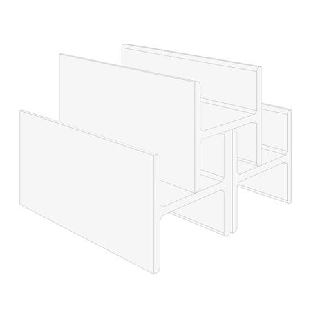 Vektorgewalzte Metallprodukte. Auf weißem Hintergrund isoliert. Vektorwiedergabe von 3d.