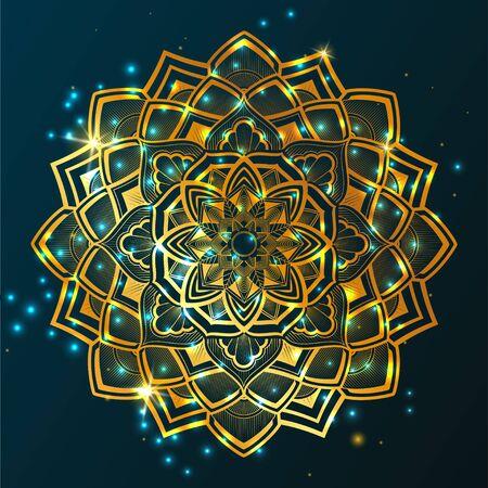 circular mandala, Golden gradient, star background