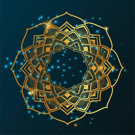 circular mandala, Golden gradient, star background Foto de archivo - 137887256
