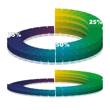 Colorful diagramme from segments. Vector illustration. For report