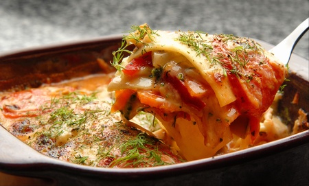 vegetable lasagna with sauce and dill