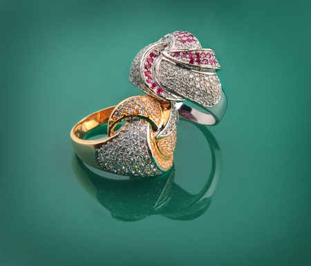 Beautiful jewelry made of gold and precious stones photo