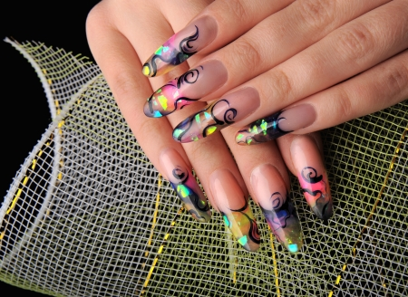 manicures beautiful pattern on nails Stock Photo - 15369035