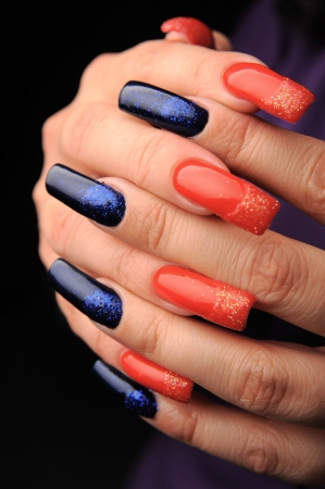 manicures beautiful pattern on nails Stock Photo - 15850513