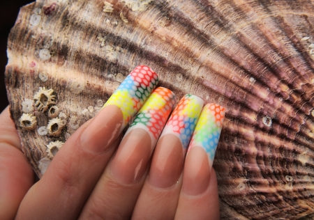 manicures beautiful pattern on nails Stock Photo - 15369044