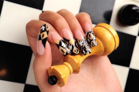 manicures beautiful pattern on nails Stock Photo - 15368911