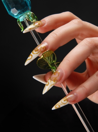 manicures beautiful pattern on nails Stock Photo - 15368888