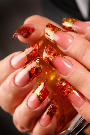 manicures beautiful pattern on nails Stock Photo - 15368912