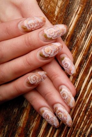 manicures beautiful pattern on nails Stock Photo - 15369040