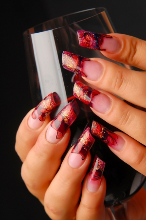manicures beautiful pattern on nails Stock Photo - 15850525