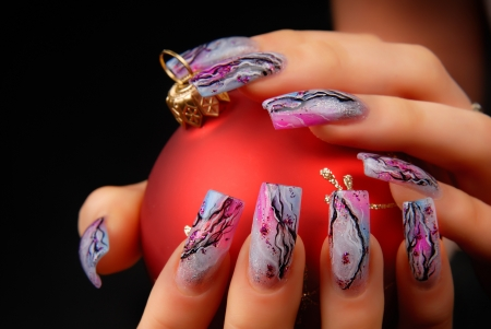 manicures beautiful pattern on nails Stock Photo - 16763882