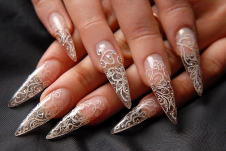 manicures beautiful pattern on nails Stock Photo - 16763914