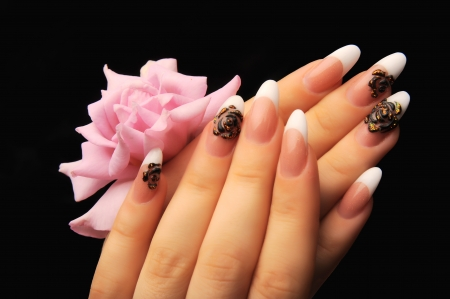 manicures beautiful pattern on nails Stock Photo - 16763878