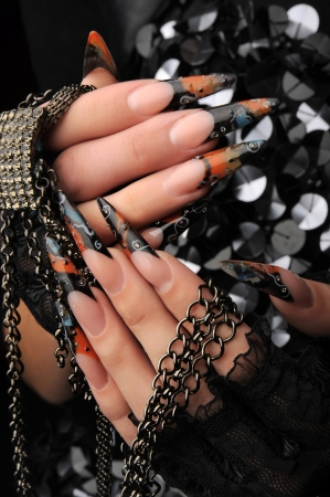 manicures beautiful pattern on nails Stock Photo - 16763908