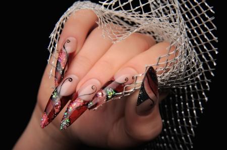 manicures beautiful pattern on nails Stock Photo - 16763891