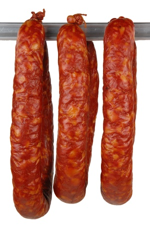 butcher's shop: tasty sausage meat on a white background