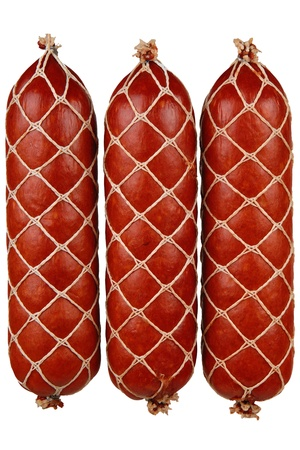 butcher s shop: tasty sausage meat on a white background