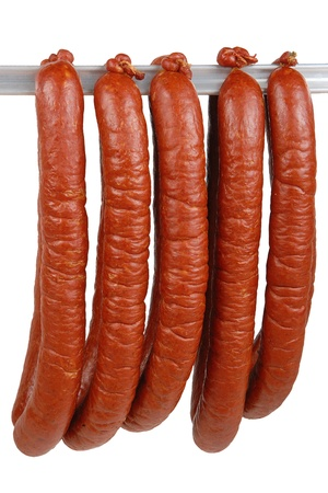 tasty sausage meat on a white background photo