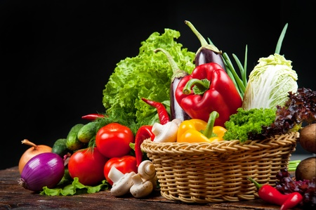 tasty and healthy food vegetables and fruits Stock Photo