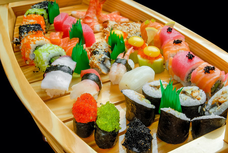 sushi and rolls with fresh fish, Japanese cuisine with fresh seafood Stock Photo