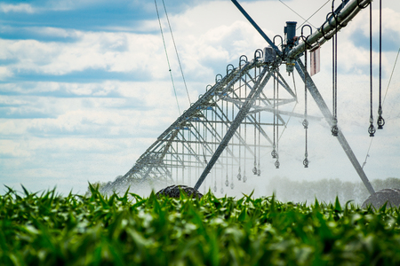 Watering system in the field. An irrigation pivot watering a field Foto de archivo