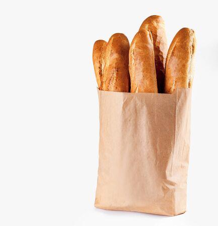 French bread. Baguette bread in paper bag