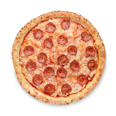 Popular pizza topping in American-style pizzerias on white background